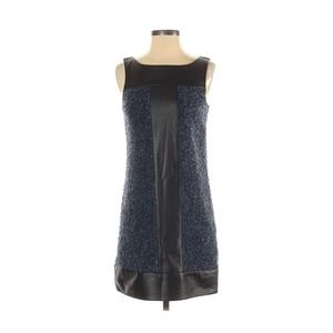 Bailey 44 Wool Tweed and Faux Leather Shift Dress